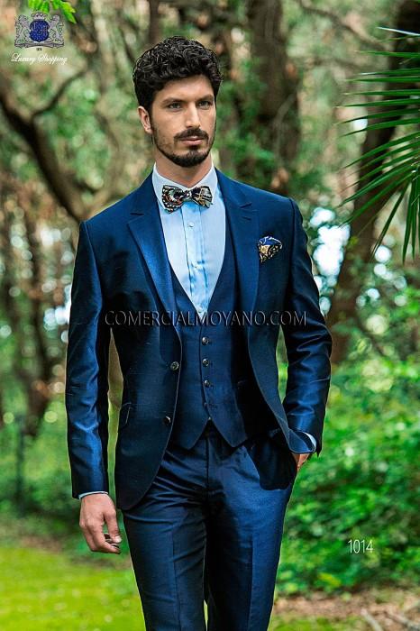 Italienisch Massgeschneiderten Blauen Shantung Anzug Mit Weste 1014