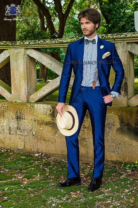 Royal blue silk shantung three-piece suit