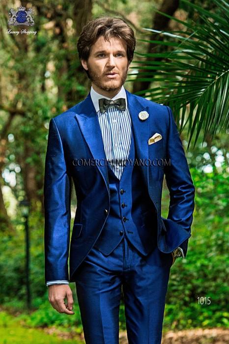 Italian bespoke blue silk shantung suit with waistcoat 1015.