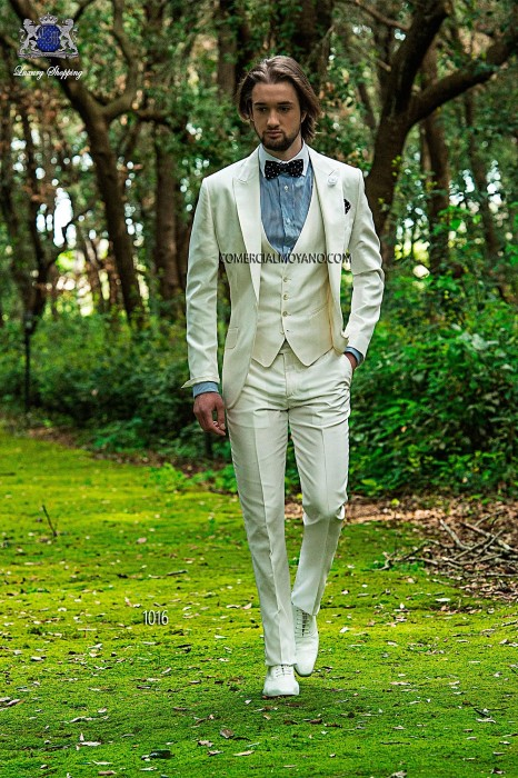 White silk shantung fashion men three-piece suit