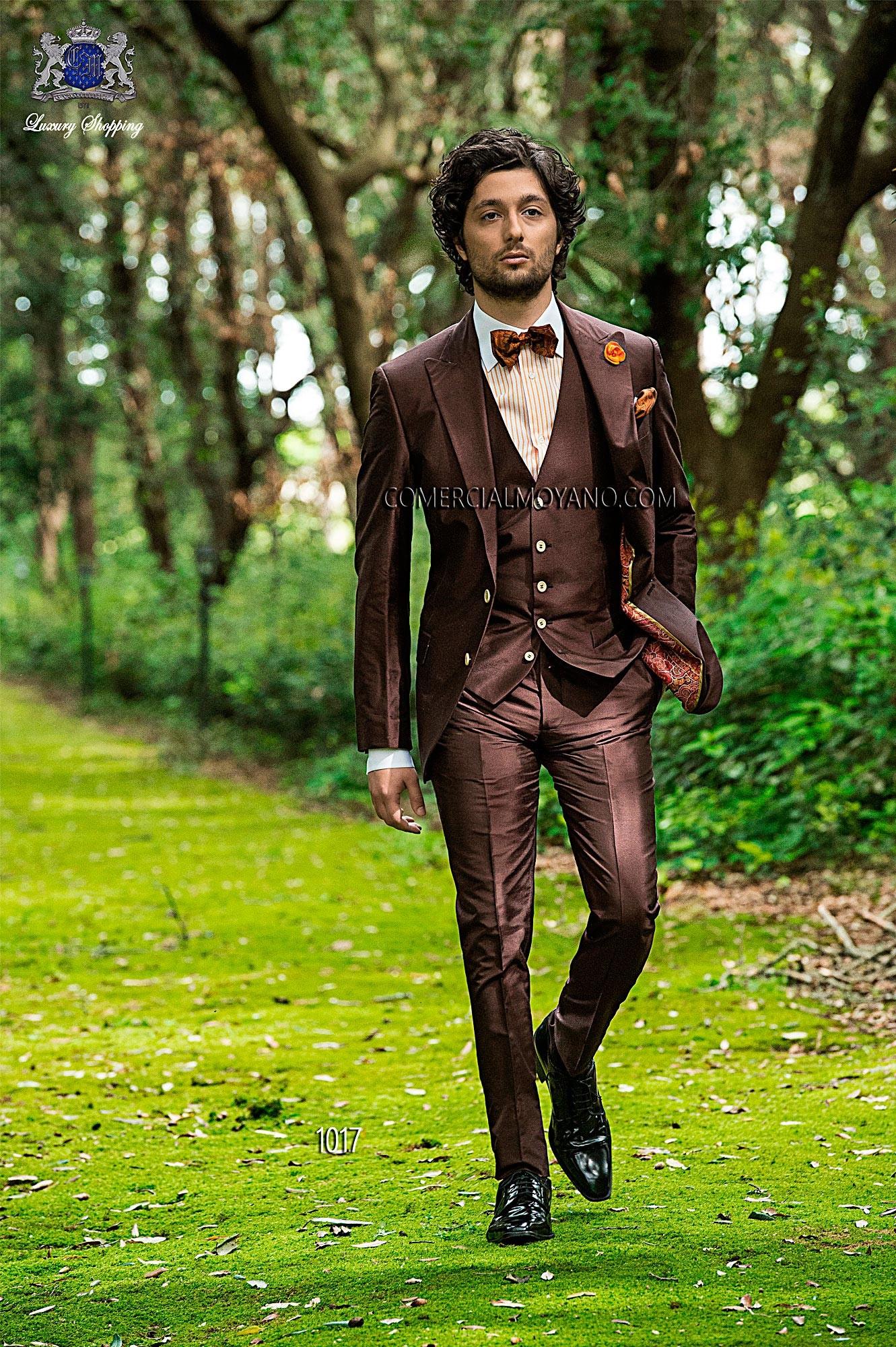 Italian bespoke brown silk shantung suit with waistcoat 1017.