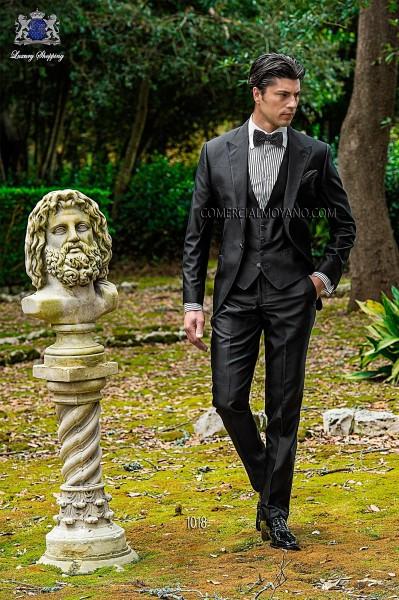 Black silk shantung fashion men three-piece suit