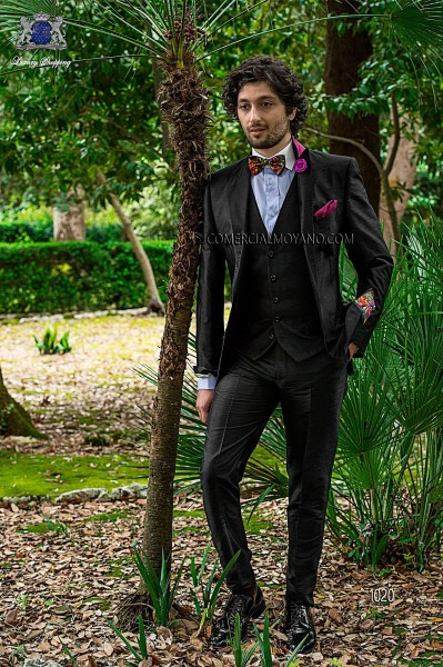 Black silk shantung fashion three-piece suit