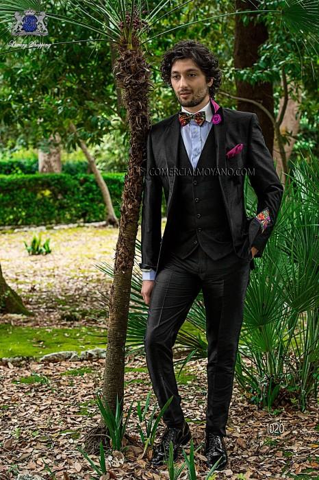 Black silk shantung fashion three-piece suit