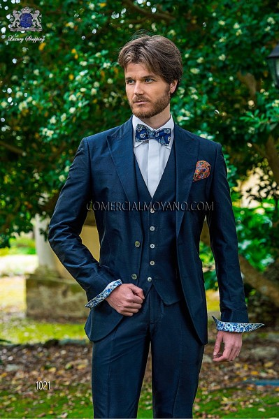 Blue silk shantung italian fashion three-piece suit