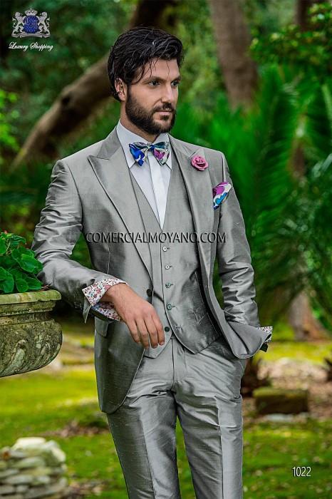Pearl gray silk shantung italian men three-piece suit