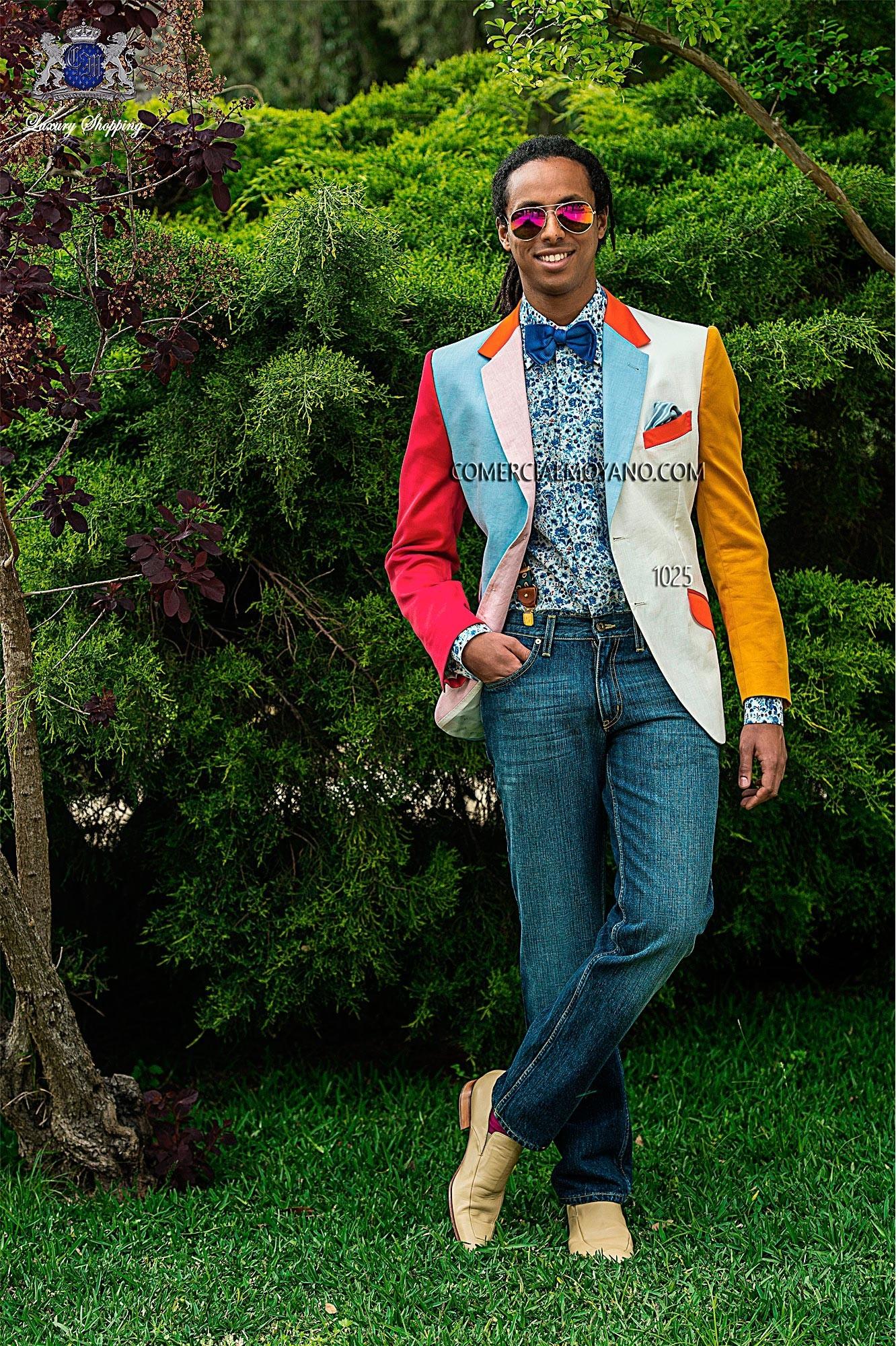 Hipster blue/white men wedding suit model 1025 Ottavio Nuccio Gala
