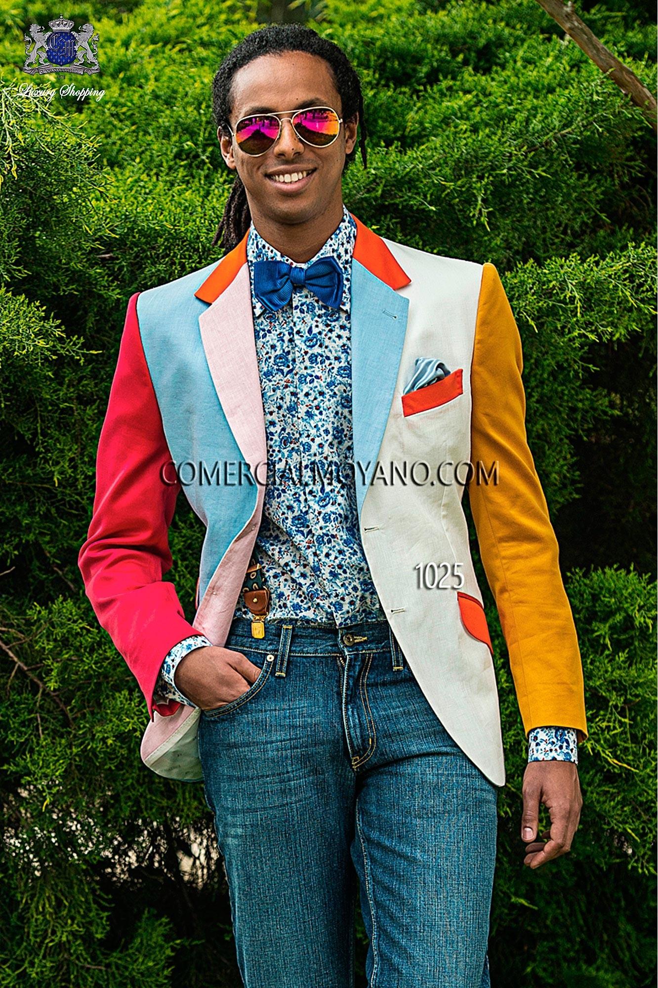 Traje Hipster de novio celeste/blanco modelo: 1025 Ottavio Nuccio Gala colección Hipster