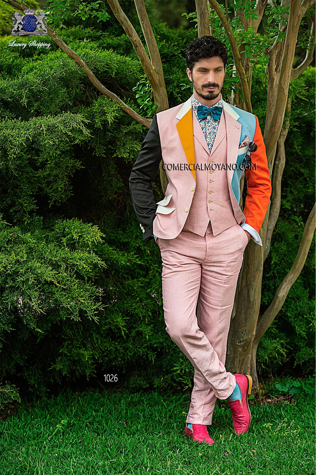 Hipster pink/sky blue men wedding suit model 1026 Ottavio Nuccio Gala