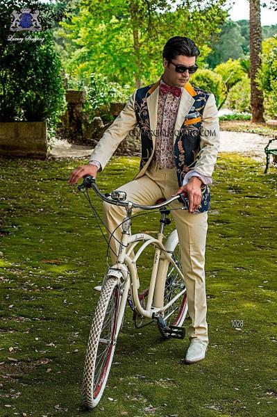 White damier cotton patchwork fashion men suit