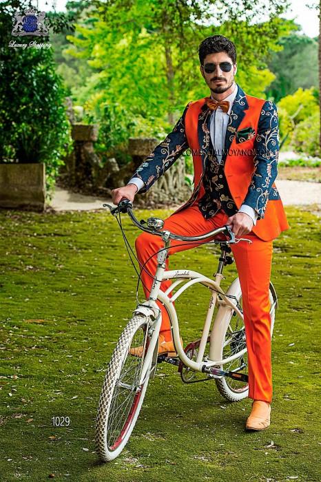 Orange satin-cotton patchwork fashion men suit