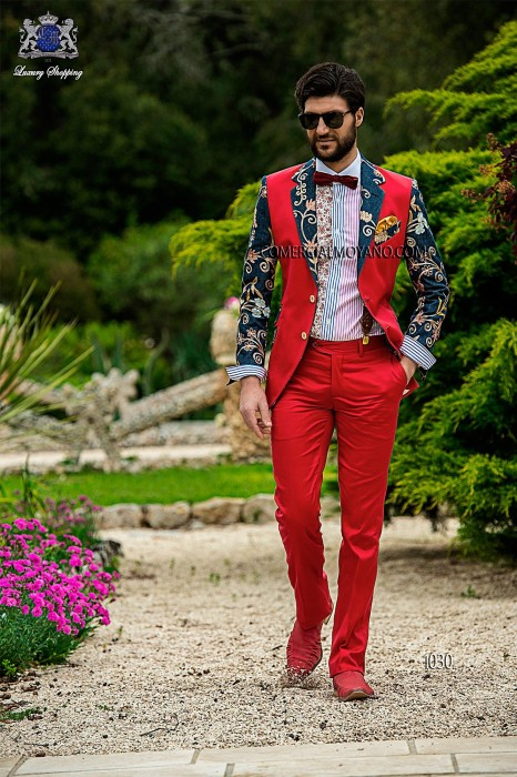 Red satin-cotton patchwork fashion men suit
