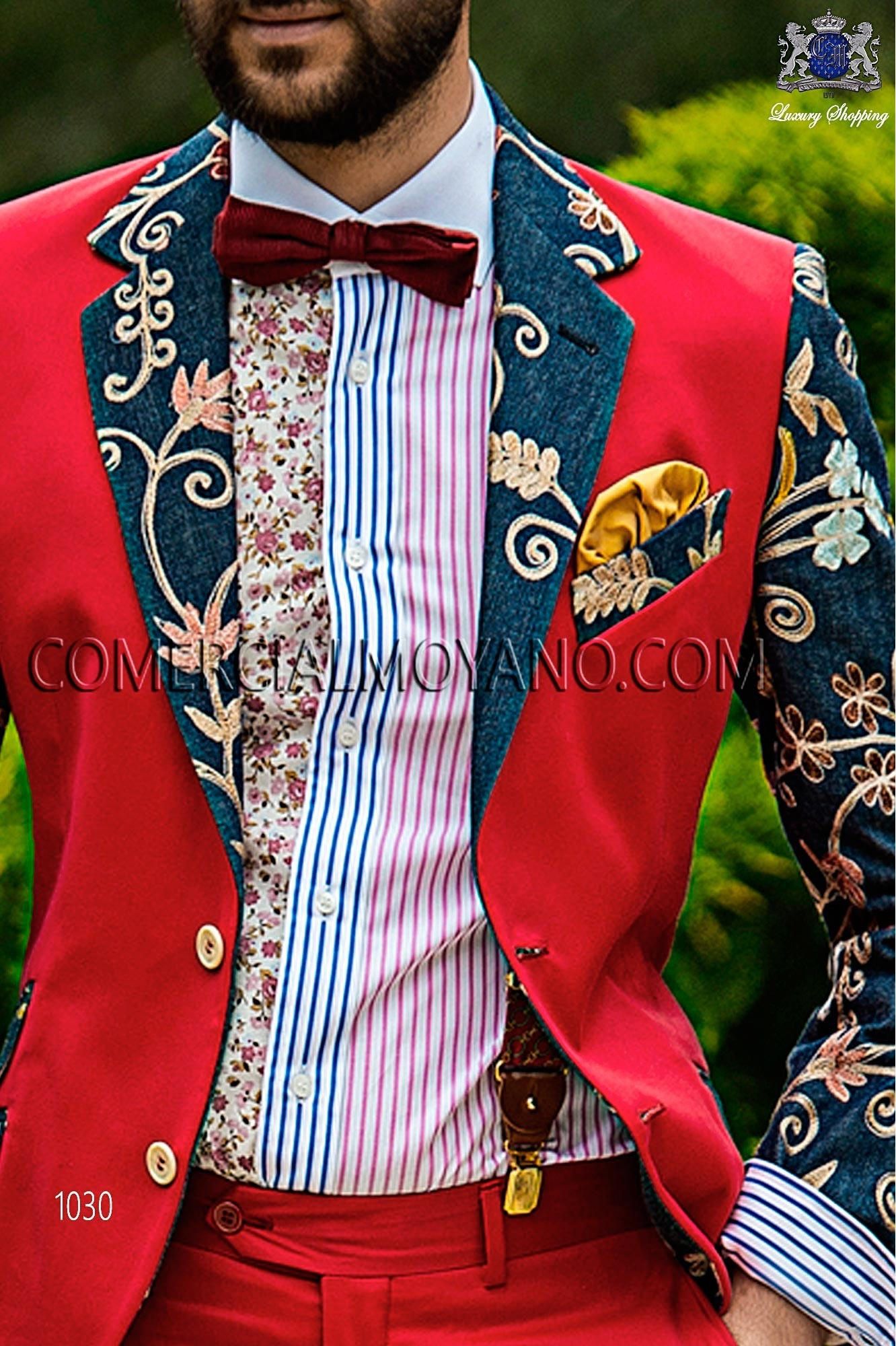 Italian hipster red/blue men wedding suit, model: 1030 Ottavio Nuccio Gala Hipster Collection
