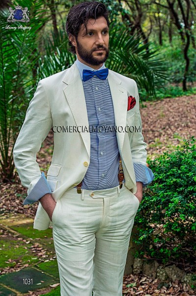 White linen fashion men suit