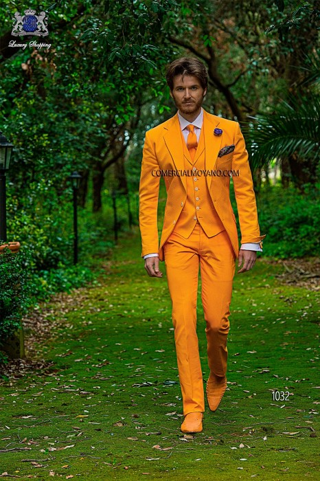 Orange cotton pique fashion three-piece suit