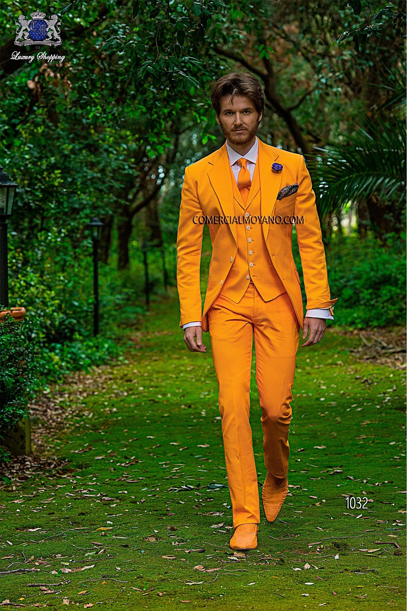 Hipster orange men wedding suit model 1032 Ottavio Nuccio Gala