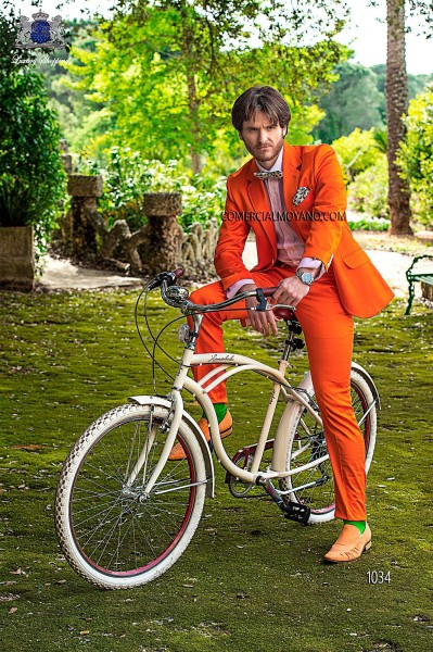 Orange cotton satin fashion men suit