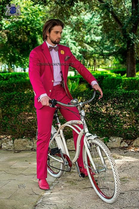 Fuchsia cotton pique fashion men suit