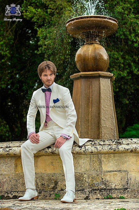 White linen fashion groom frock coat