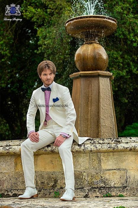 White linen fashion groom frock coat