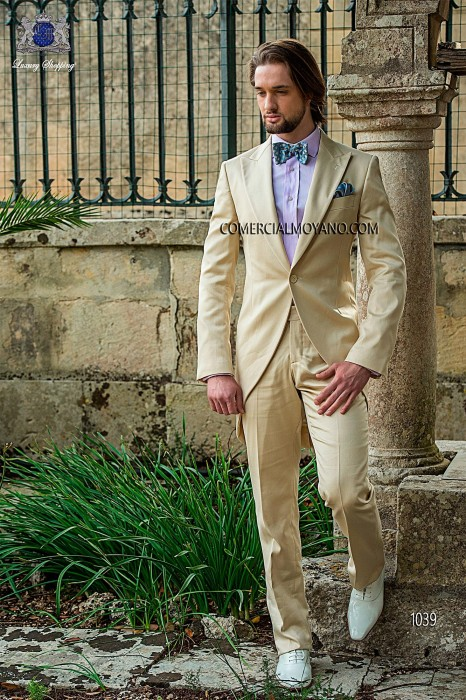 Beige cotton satin groom fashion frock coat