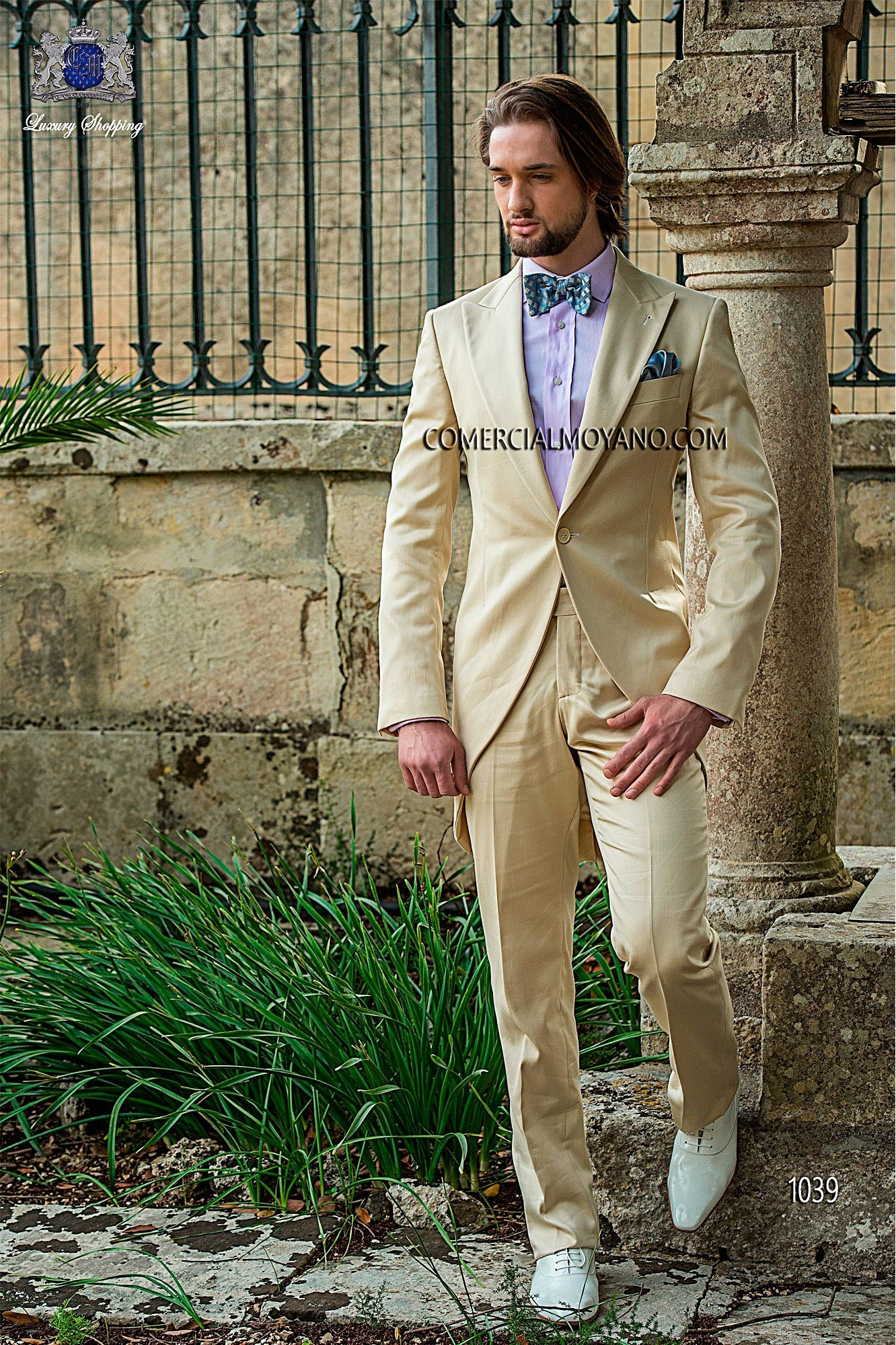 Hipster beige men wedding suit model 1039 Ottavio Nuccio Gala