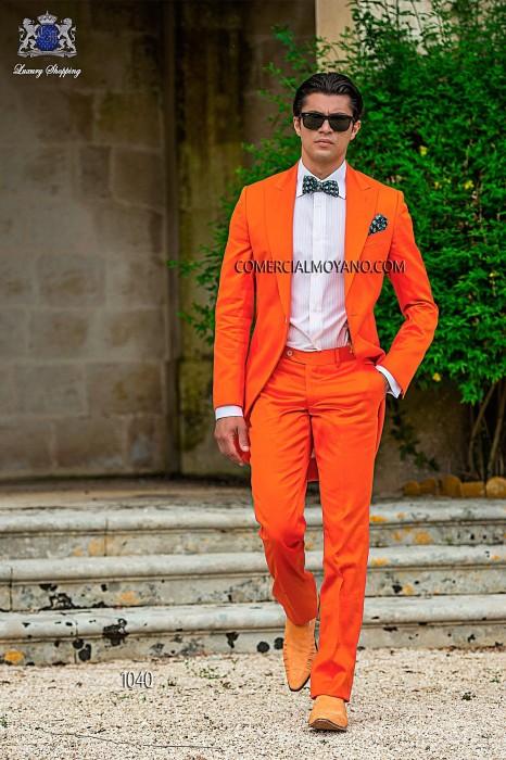 Orange cotton satin groom fashion frock coat