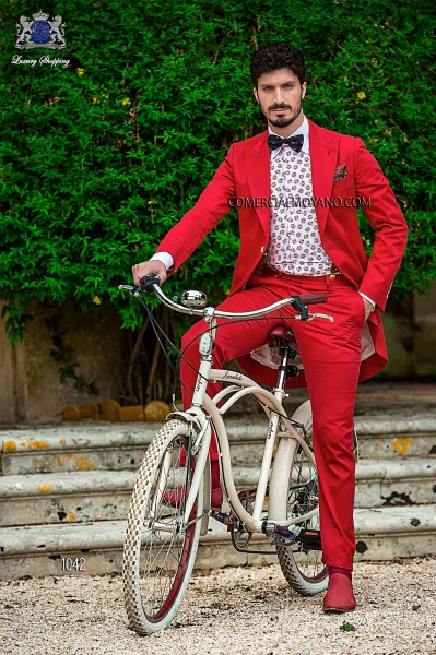 Italian hipster red men wedding suit style 1042 Ottavio Nuccio Gala