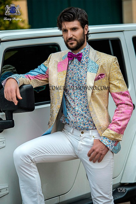 Pure silk patchwork fashion men jacket