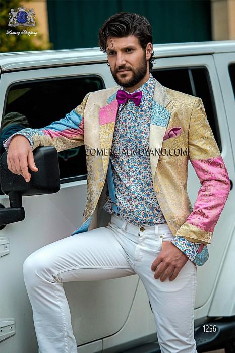 Pure silk patchwork fashion men jacket