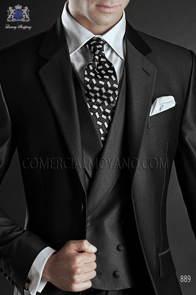 Dark gray double-breasted waistcoat