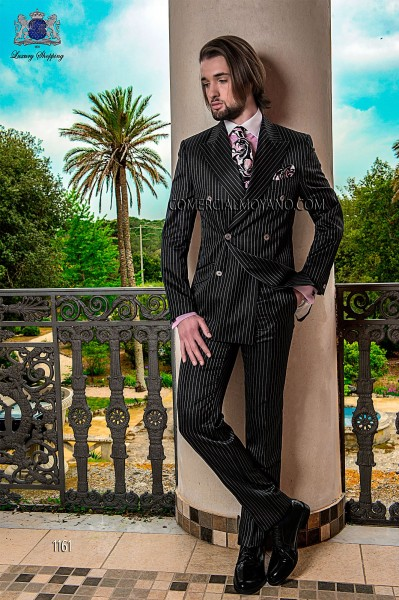 Italian double breasted black groom suit