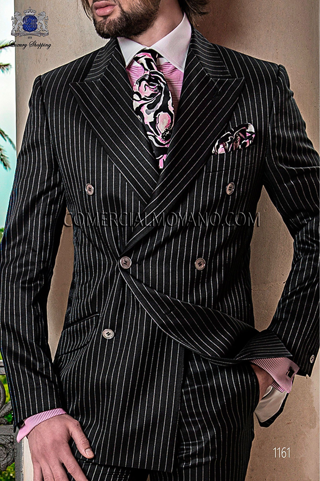 Italian Gentleman Black Men Wedding Suit Model 1161 Ottavio Nuccio Gala Collection