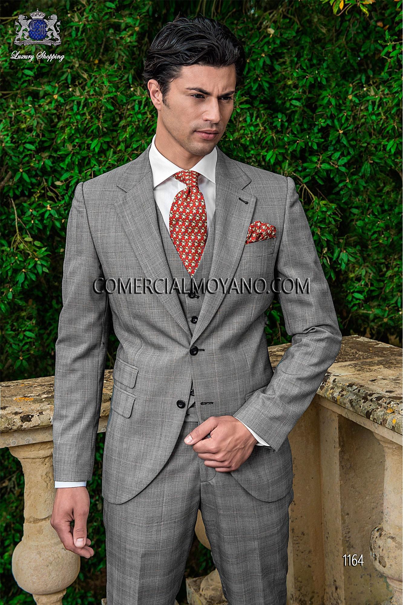 Gentleman gray prince of wales men wedding suit, model: 1164 Ottavio ...