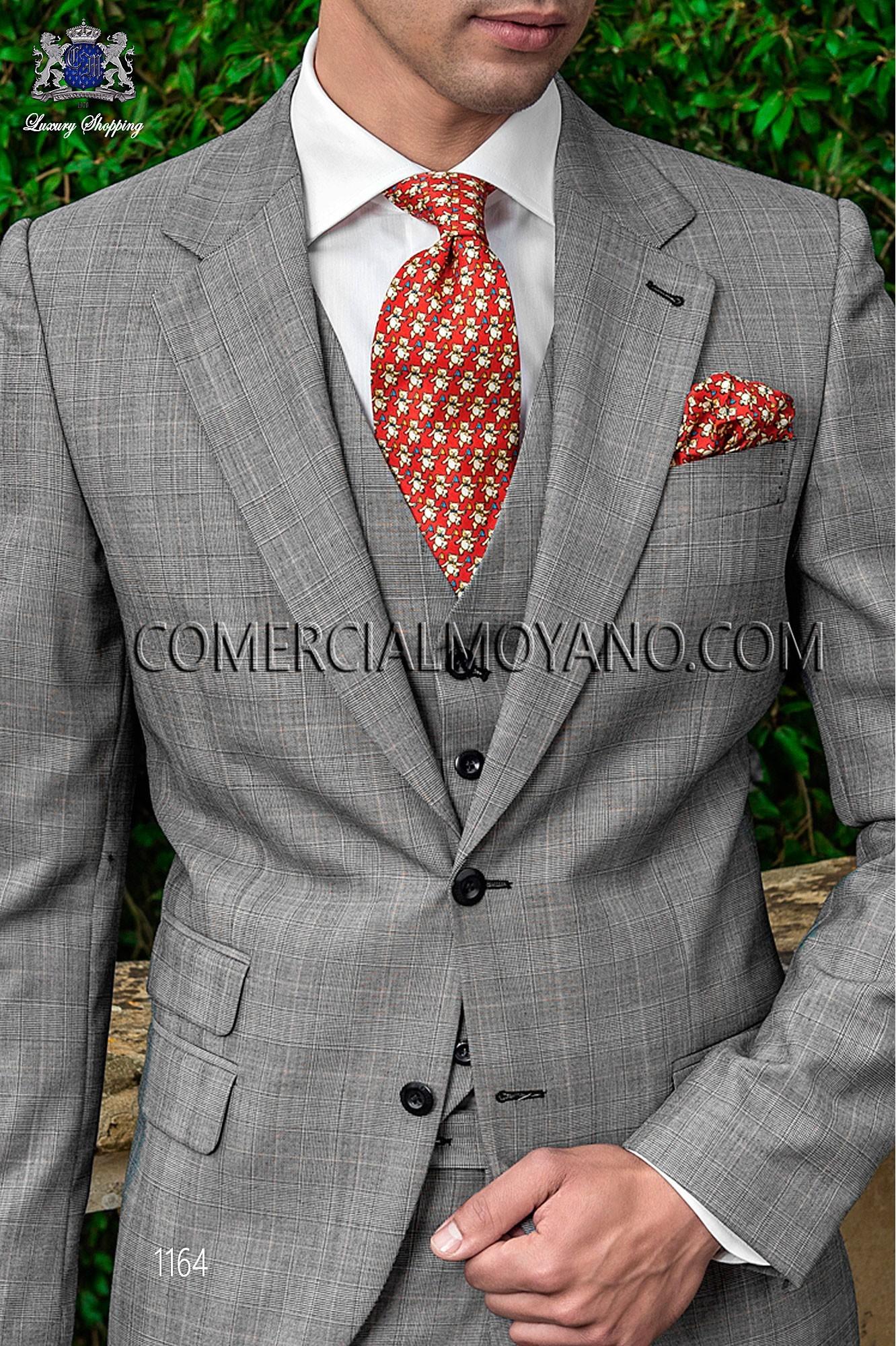 Gentleman gray prince of wales men wedding suit, model: 1164 ...
