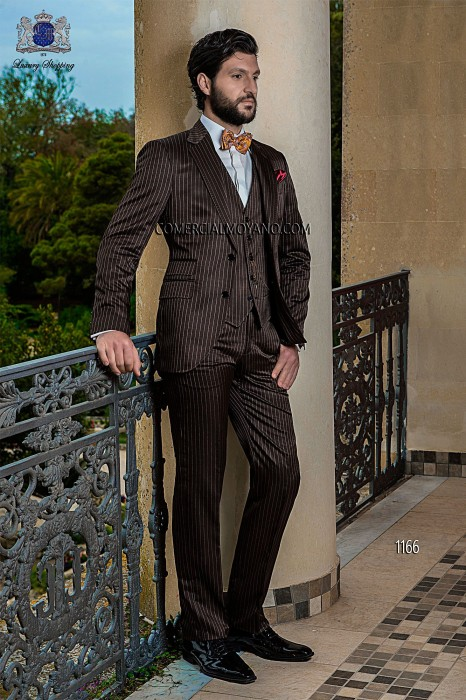 Italian bespoke brown wedding suit