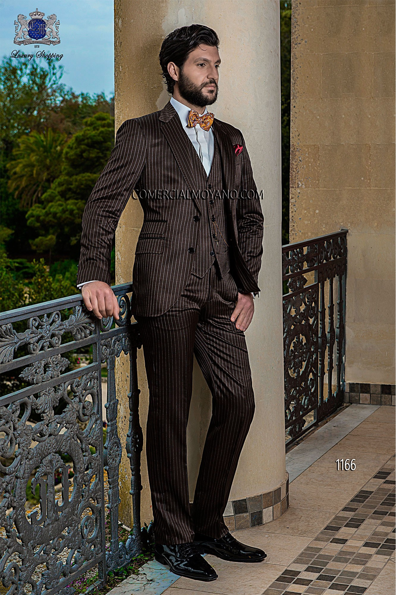 Italian bespoke single breasted suit, 2 buttons, in new performance fabric, brown pistripe; with matching waistcoat, style 1166 Ottavio Nuccio Gala, 2015 Gentleman collection.