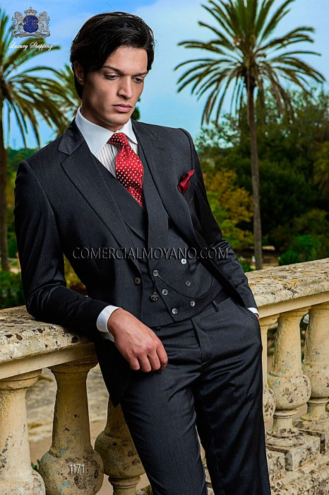 Italian dark gray wedding suit 3pc
