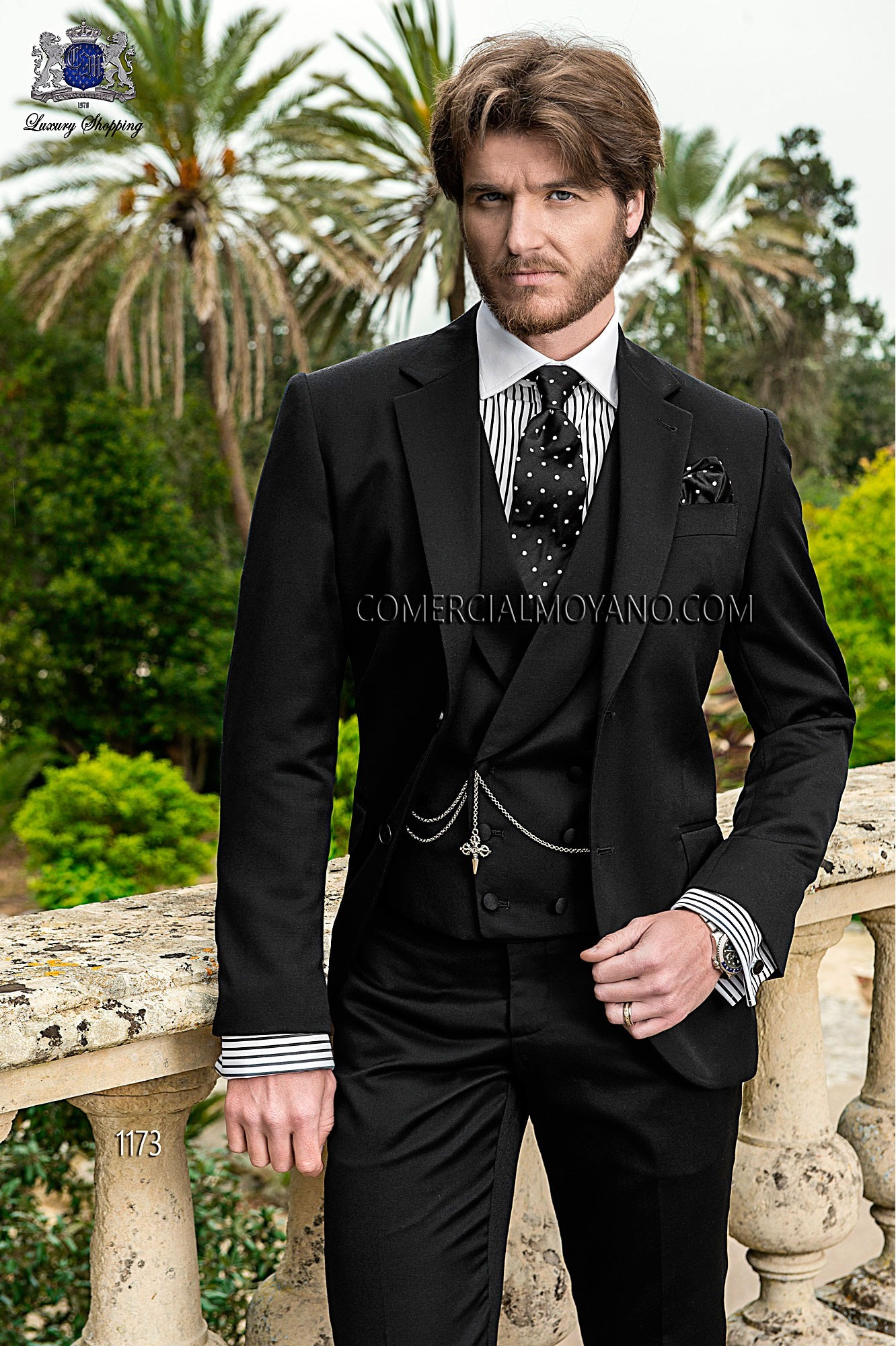 Gentleman black men wedding suit model 1173 Ottavio Nuccio Gala
