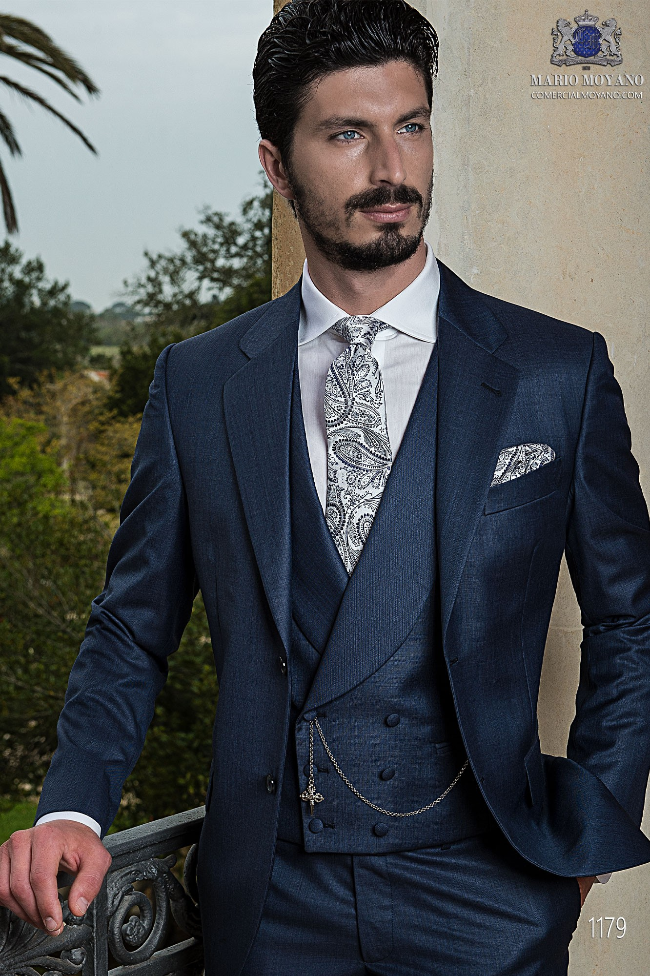Gentleman blue men wedding suit model 1179 Ottavio Nuccio Gala