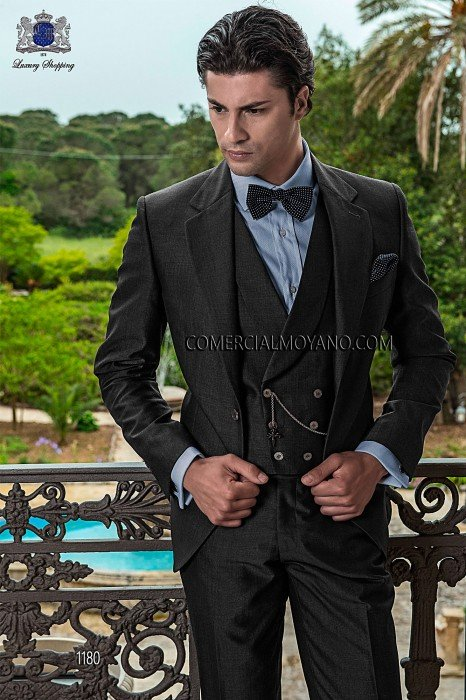 Italian gray wool mohair wedding suit