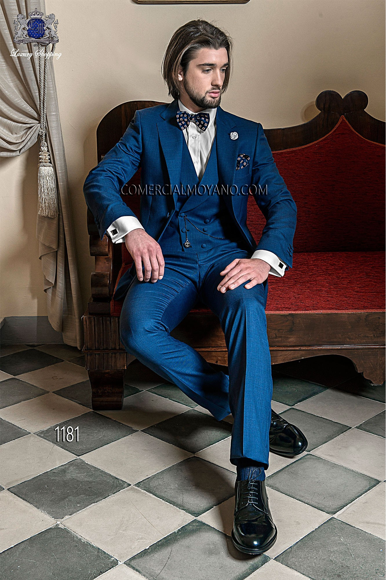 Gentleman blue men wedding suit model 1181 Ottavio Nuccio Gala