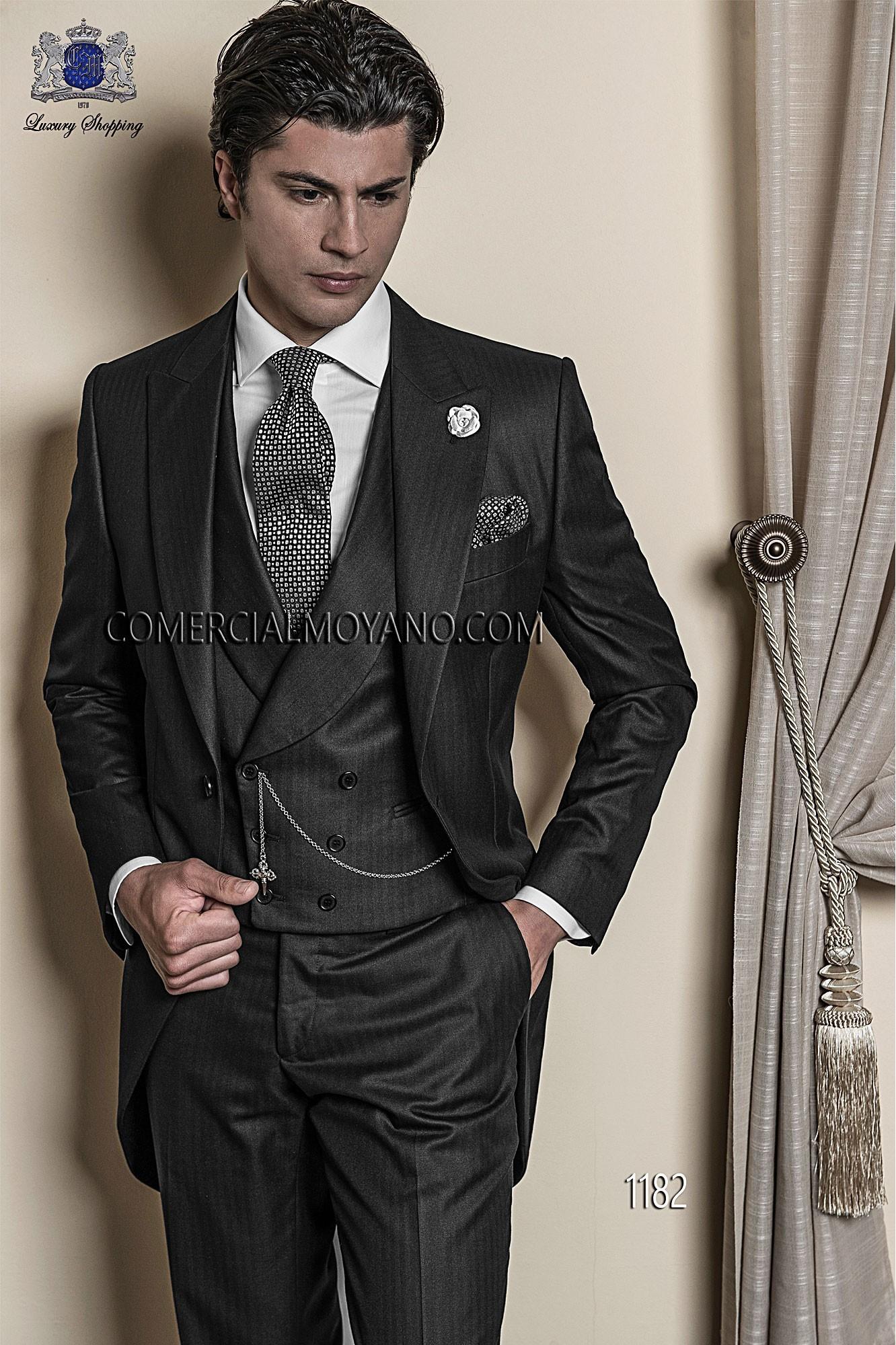 Italienne sur mesure costume simple boutonnage, 2 boutons, dans la nouvelle noire de performance, de style 1182 Ottavio Nuccio Gala, collection Gentleman.