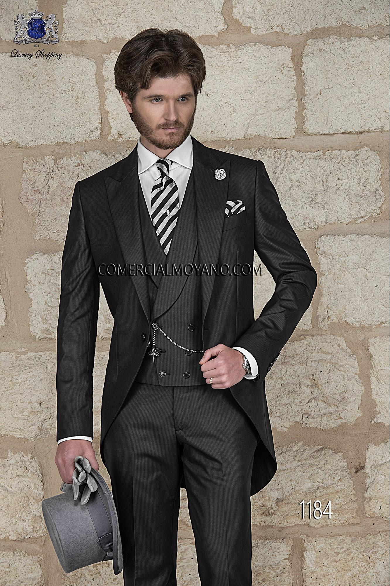Italian bespoke black wedding morning suit 1184 Ottavio Nuccio Gala
