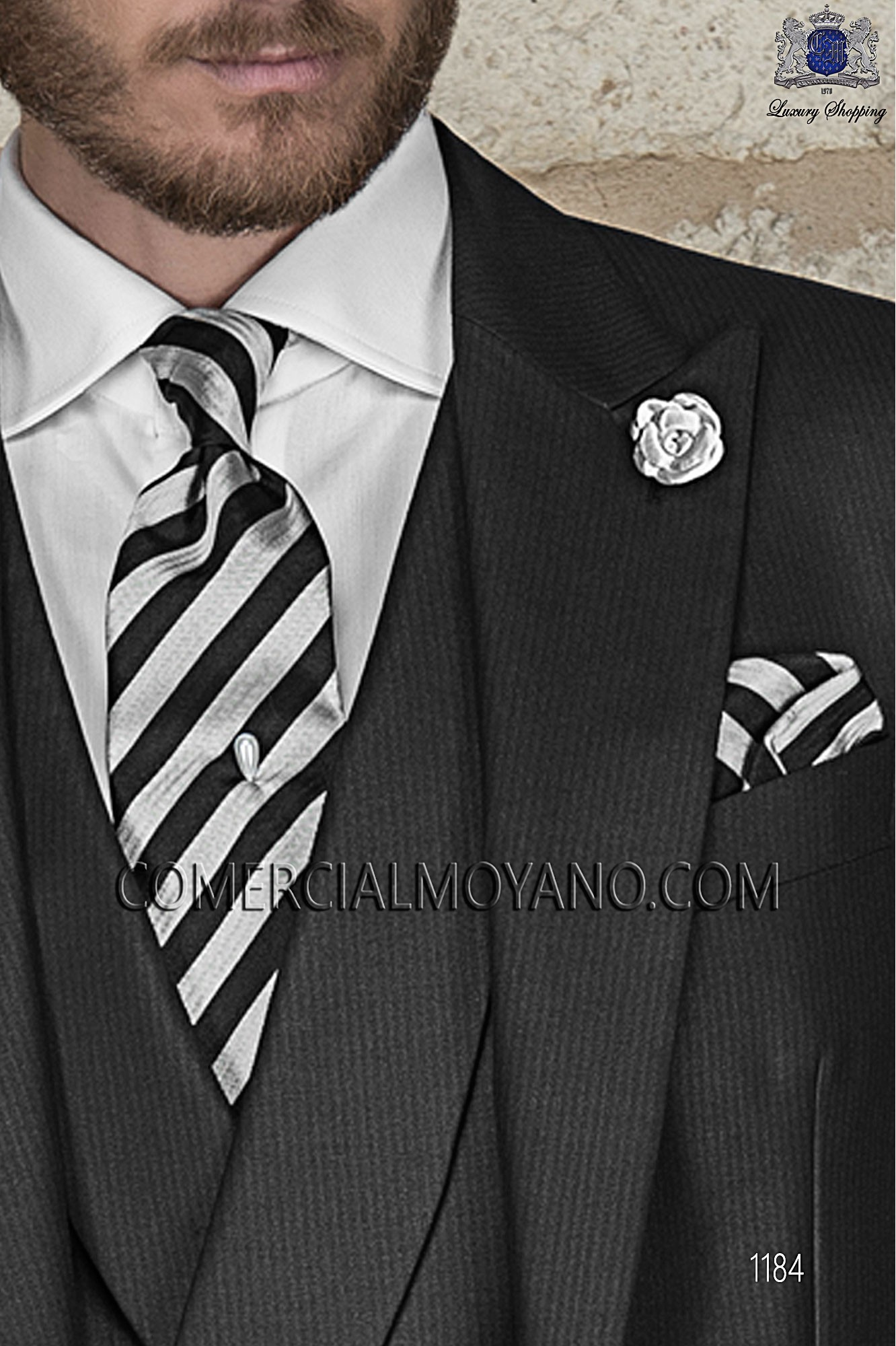 Italian gentleman black men wedding suit, model: 1184 Ottavio Nuccio Gala Gentleman Collection