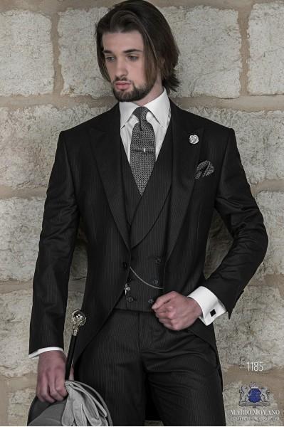 Italian black short frock wedding suit