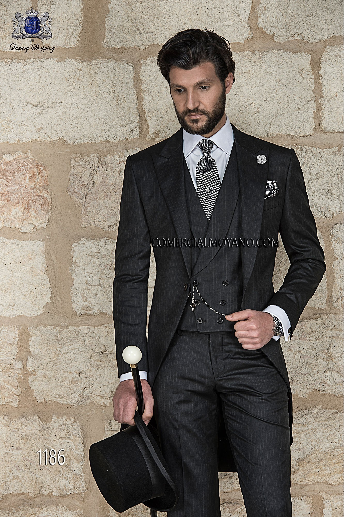 Gentleman black men wedding suit model 1186 Ottavio Nuccio Gala