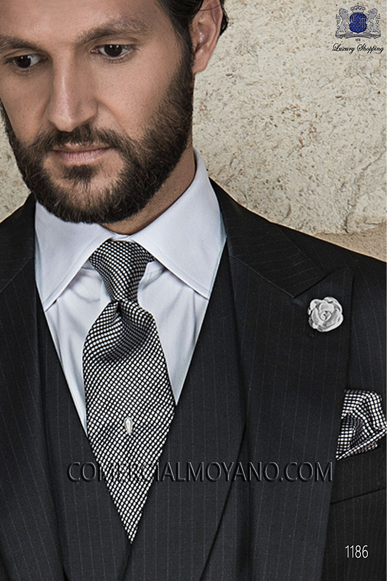 Italian Gentleman Black Men Wedding Suit Model 1186 Ottavio Nuccio Gala Collection