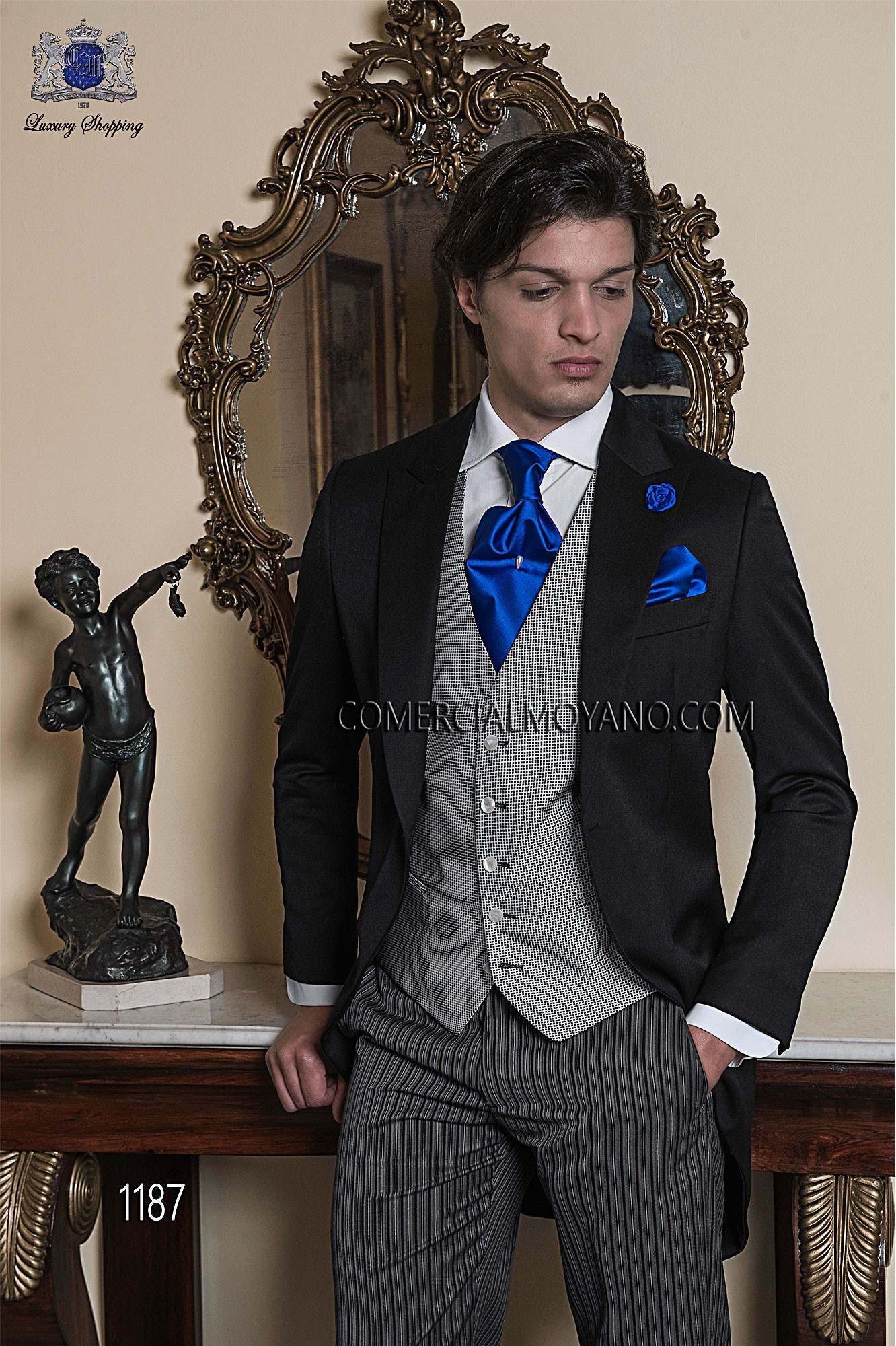 italian bespoke wedding morning suit black coat and diplomatic pants style 1187 ottavio nuccio - Costume Jaquette Mariage