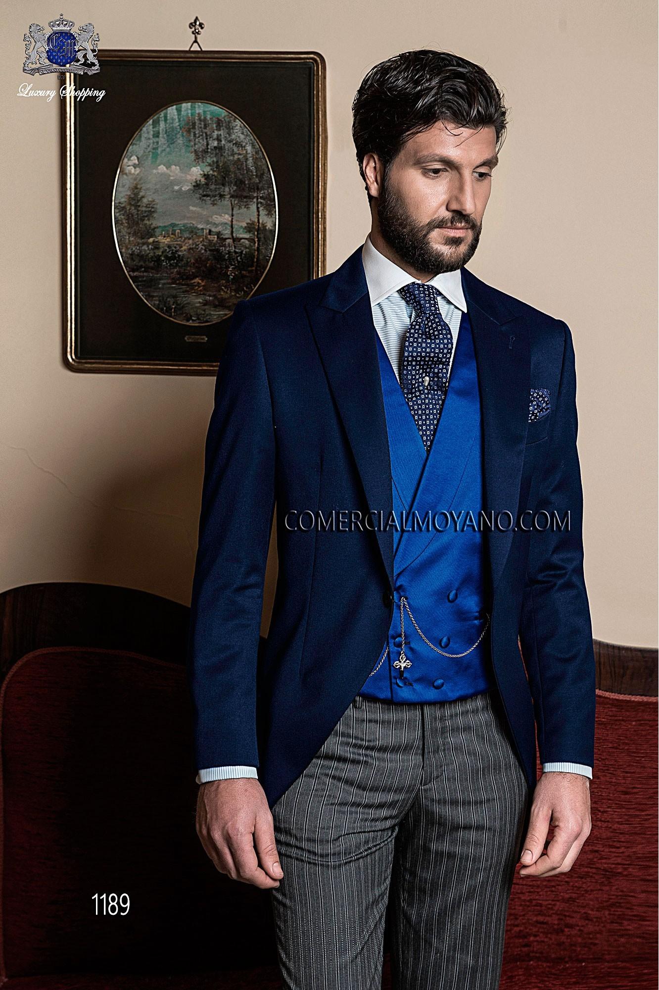 Traje de novio italiano a medida levita azul con pantalón diplomático gris, modelo 1189 Ottavio Nuccio Gala colección Gentleman.